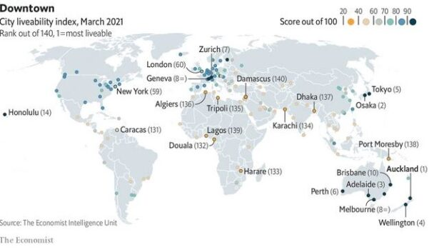 10 most liveable cities
